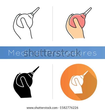Lavement icon. Enema. Clyster. Medical nonsurgical procedure. Constipation help. Healthcare services. Douche for injection. Hygiene. Flat design, linear and color styles. Isolated vector illustrations