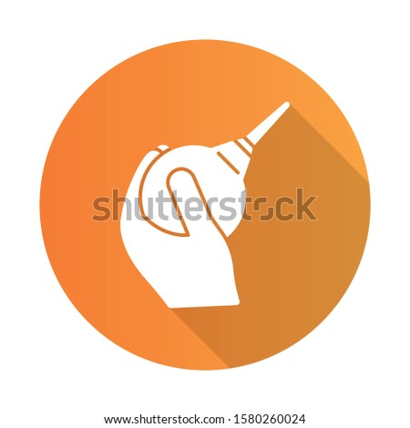 Lavement orange flat design long shadow glyph icon. Enema. Clyster. Medical nonsurgical procedure. Constipation help. Healthcare services. Douche for injection. Hygiene. Vector silhouette illustration