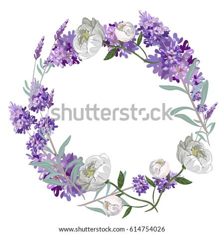 lavender and peony round frame