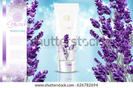Lavender cream ads, natural skin care products with white and lavender flower package  isolated on sky blue background in vector 3d illustration