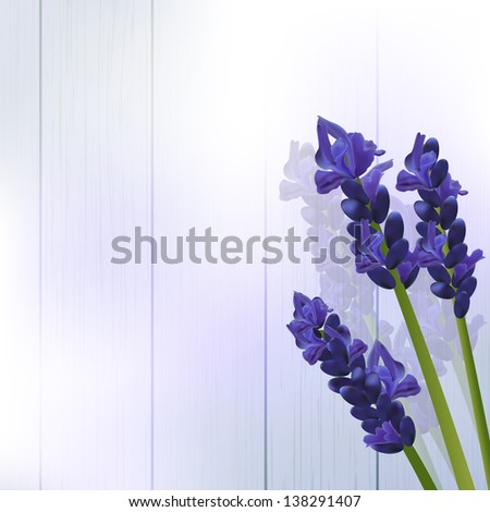 lavender flowers against a wood