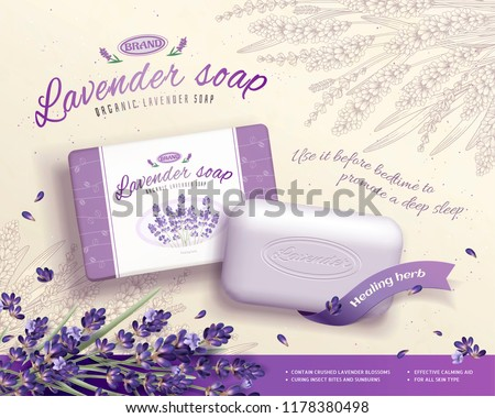 lavender soap ads with blooming
