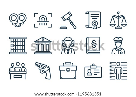 Law and judgement line icons. Vector linear icon set.