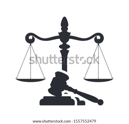 Law and justice concept. Gavel of the judge and scales of justice. Vector silhouette. Libra and gavel. Legal center or law advocate symbol. Foto stock ©