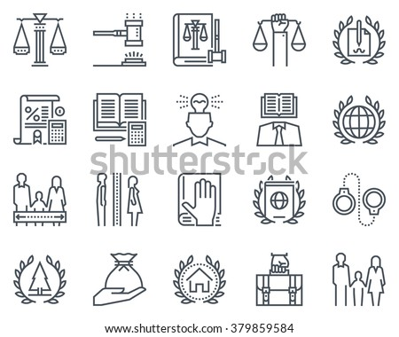 Law and justice icon set suitable for info graphics, websites and print media. Black and white flat line signs.