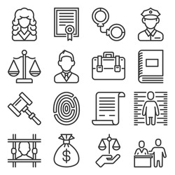 Law and Justice Icons Set on White Background. Line Style Vector