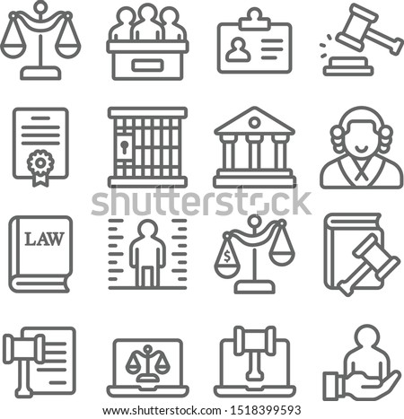 Law and justice icons set vector illustration. Contains such icon as  Attorney, Criminals, Cyber Law, Criminal and more. Expanded stroke