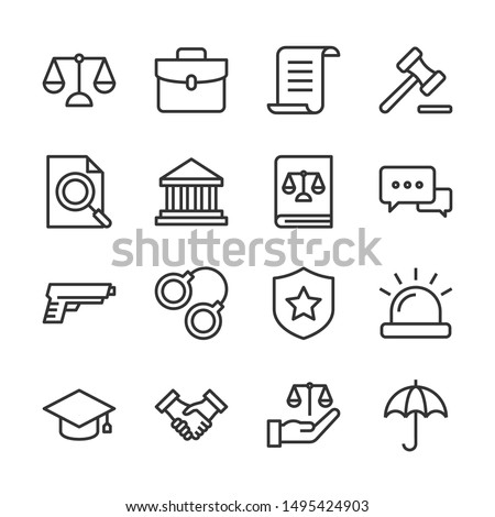 Law and justice line icons set vector illustration