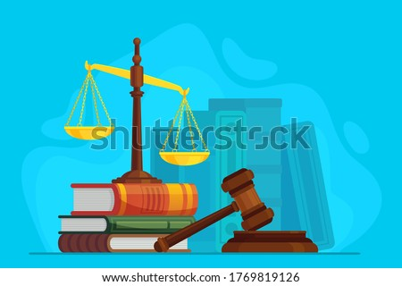Law and justice. Scale justice and wooden judge gavel, auction symbol, legal law and judiciary, trials judgment, legislation vector concept. Justice legal, court and punishment illustration