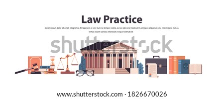 law and justice set gavel judge books scales courthouse icons collection horizontal copy space vector illustration