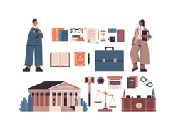 law and justice set mix race man woman lawyers and icons collection horizontal full length isolated vector illustration