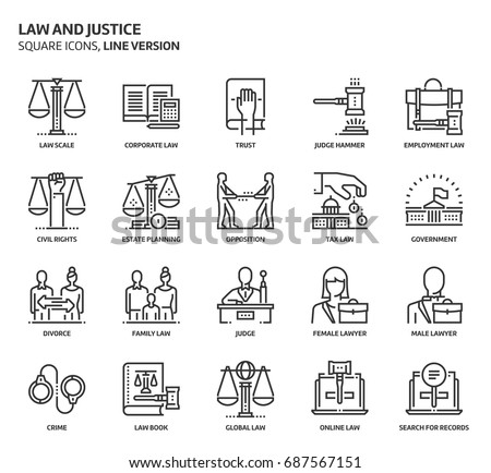 Law and justice, square icon set. The illustrations are a vector, editable stroke, pixel perfect files. Crafted with precision and eye for quality.