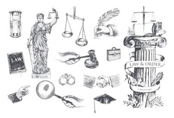 Law and order justice set. Lawbook, handcuff, judge gavel, scales, paper, briefcase, themis, pointing hand, hand gestures, lawyer mortarboard hat, hourglass, magnifying glass. Vector handdrawn lineart