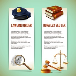 Law and order police criminal and prosecution vertical banners vector illustration