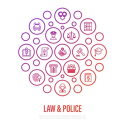 Law and police concept in circle shape. Policeman, judge, prosecutor, lawyer, court, prison, fingerprint, conviction, evidence flat line icons. Vector illustration, template for mailing.