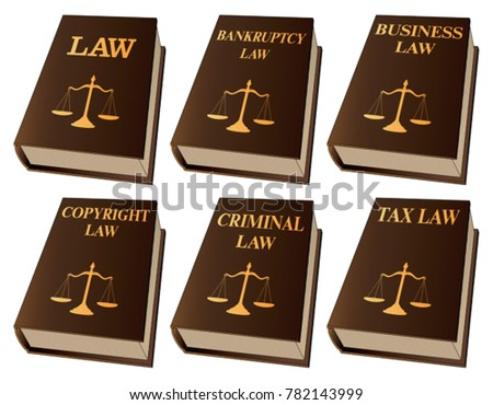 Law Books is an illustration of six law books used by lawyers and judges. They include books on law, bankruptcy, business, copyright, criminal, and tax law.