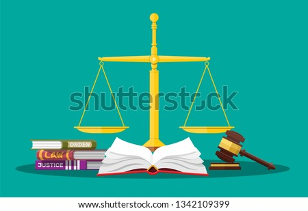 law code books  justice scales