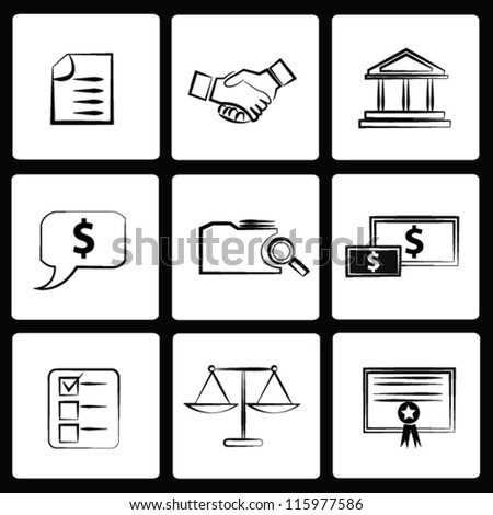 Law concept,icon set,Vector