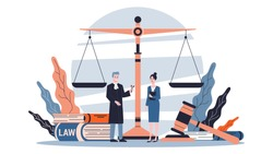 Law concept. Idea of justice, court and lawyer. Gavel and judge book, bill and scales. Isolated flat vector illustration