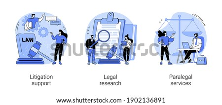 Law firm abstract concept vector illustration set. Litigation support, legal research, paralegal services, forensic accounting, consulting, data collection, attorney legal work abstract metaphor.