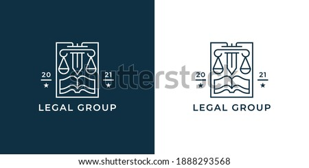 Law firm logo. Legal group sign. Concept weight scales, book and pillar sword line icon. Lawyer attorney symbol. Vector illustration.