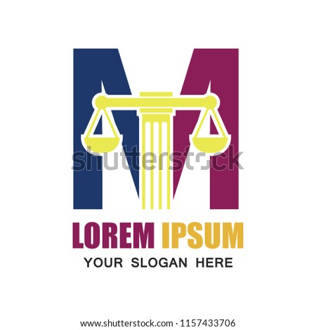 law firm logo with M alphabet and text space for your slogan / tagline, vector illustration
