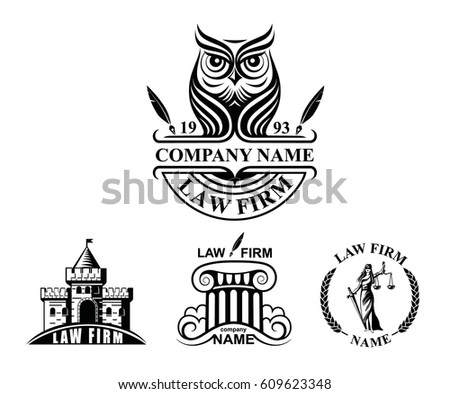Law firm logotypes with Goddess of justice, column, owl and castle. Vector logo set or law firm.
