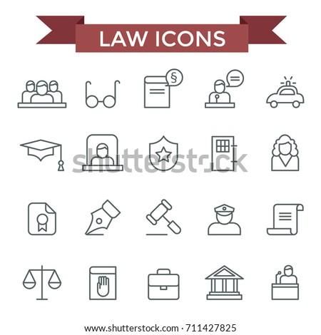 Law icons, thin line flat design