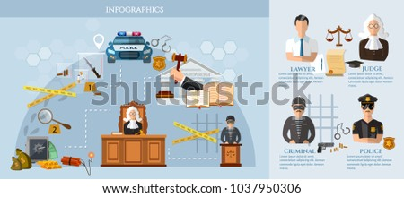 law infographics set with court