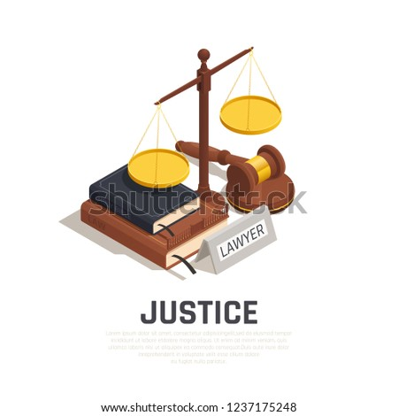 Law isometric composition with mallet legal code book bible and scale of justice symbol vector illustration