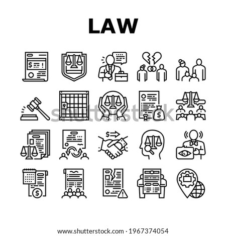 Law Justice Dictionary Collection Icons Set Vector. Family And Social Norms, Leasing And Breach Of Contract, Penalty And Divorce Law Black Contour Illustrations Photo stock ©