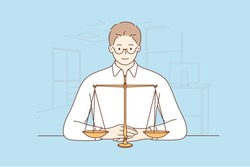 Law, justice, notary, work concept. Young happy smiling man guy clerk manager lawyer attorney judge sitting near scale demonstrating guilty weight. Court authority and judicial system illustration.