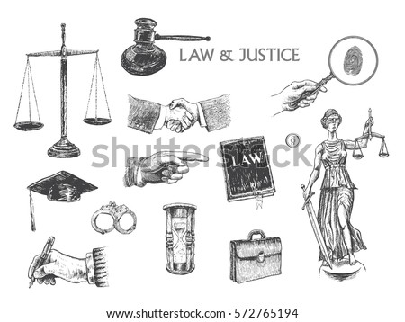 Law, justice, police set. Lawbook, handcuff, judge gavel, scales, paper, briefcase, themis, pointing hand, hand gestures, lawyer mortarboard hat, hourglass, magnifying glass. Vector handdrawn lineart