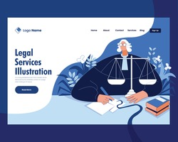 Law, lawyer, justice and law, legal services vector illustration concept