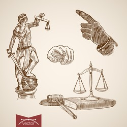 Law legal business accessory Themis Lady Justice scales wages judge hammer hand point icon set. Engraving style pen pencil crosshatch hatching paper painting retro vintage vector lineart illustration.