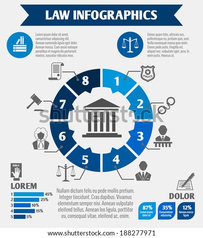 Law legal justice infographics with charts diagrams and legislation elements vector illustration