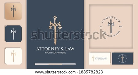 law logo design, sword of justice and business card ストックフォト ©