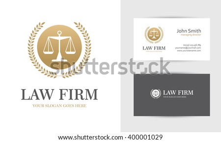 Law office logo vectors download free vector art stock graphics law logo with scales and wreath in golden colors business card design templates for law reheart Gallery