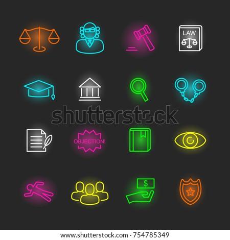 law neon icon set, vector design editable stroke
