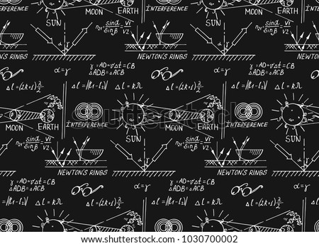 Law of optics. Retro education and scientific background. Math and physic formula, equation and outlines on chalkboard. Vector hand-drawn seamless pattern.