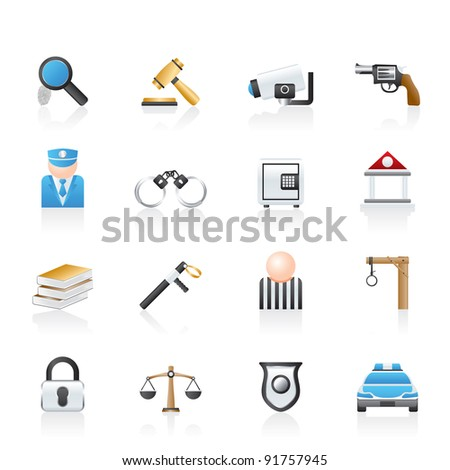 Law, Police and Crime icons - vector icon set