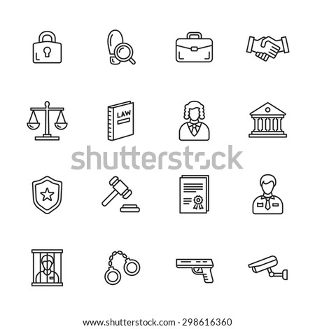 Law thin line icons