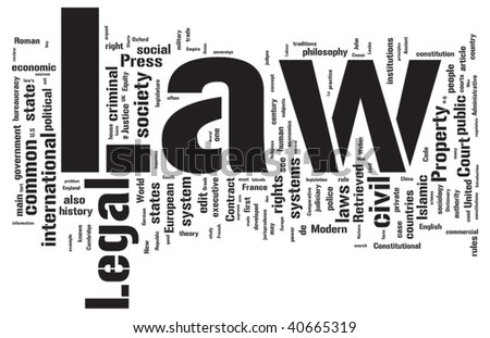 Law word cloud illustration. Graphic tag collection.