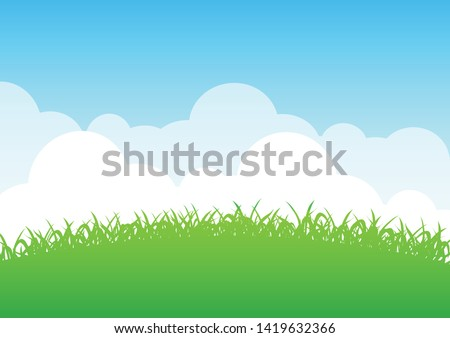 Lawn and sky background vector,Lawn nature illustration,landscape lawn and sky wallpaper