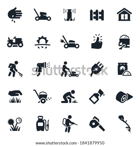 Lawn Care Icons stock illustration. Lawn mowers, landscapers, grass, sprinkler system, irrigation system, picket fence, planting seeds, electric lawn mower, green thumb, fertilizer, care, sod.