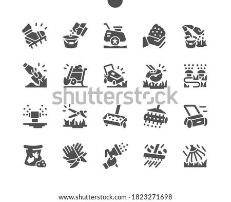 Lawn care. Machine for cutting lawns. Lawn mover on grass in modern garden. Professional lawn coverage. Equipment for lawn and grass. Vector Solid Icons. Simple Pictogram