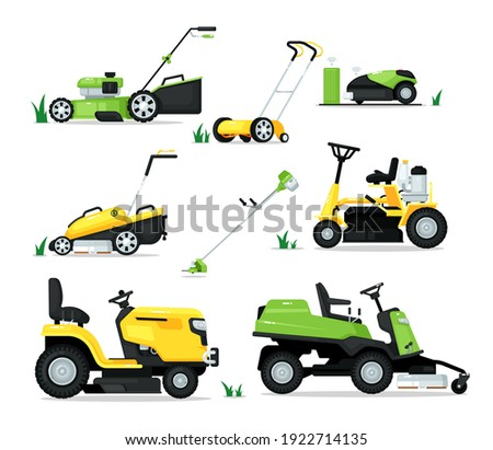 Lawn mover machine with engine and mechanical shear set. Trimming, pruning and cutting grass electric mower cultivator work tool for garden vector illustration isolated on white background Foto stock ©