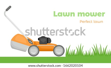 Lawn mower cutting grass isolated on white background. Vector illustration of orange cartoon lawn mower running on green lawn. Simple flat style.
