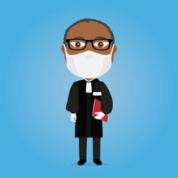 Lawyer court dress male black holding red folder with virus mask and white gloves glasses traditional black suit blue background