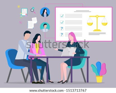Lawyer discussing with clients, judge consultation, legal advice, plan of strategy. People communication with laptop, legislation and paperwork vector